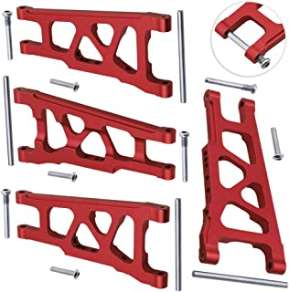 Hobbypark Front / Rear Aluminum Suspension Arms (L/R) Replace 3655X Red for 1/10 Traxxas Slash 4x4 Upgrade Parts Fit HQ727
