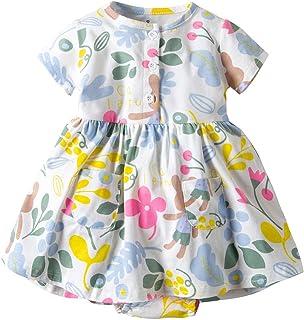Vestido Niña Ropa Bebé Vestidos Mameluco Manga Corta Mono Princesa Verano Flor Impreso Body Traje