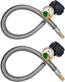 Meter Star 18inch Pigtail Stainless Braided RV Regulator Propane Hose Connector with Gauge QCC Type1 Connection 2PCS/lot