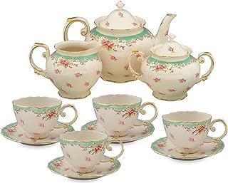 Gracie China by Coastline Imports Vintage Green Rose Porcelain 11-Piece Tea Set, Green