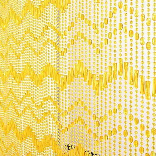 ZXL parelgordijnen met koorden om op te hangen van kunststof schuifdeur ruimteverdeler decoratie panel ingang deur balkon (kleur: geel, grootte: 80 x 200 cm - 80 strengen)