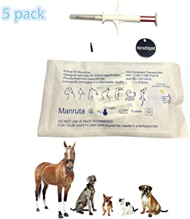 5 Pack Pet Microchip 134.2Khz Animal ID Chips with Syringe for Animal Identification ISO 11784/11785 and FDX-B Standard 2.12X12mm