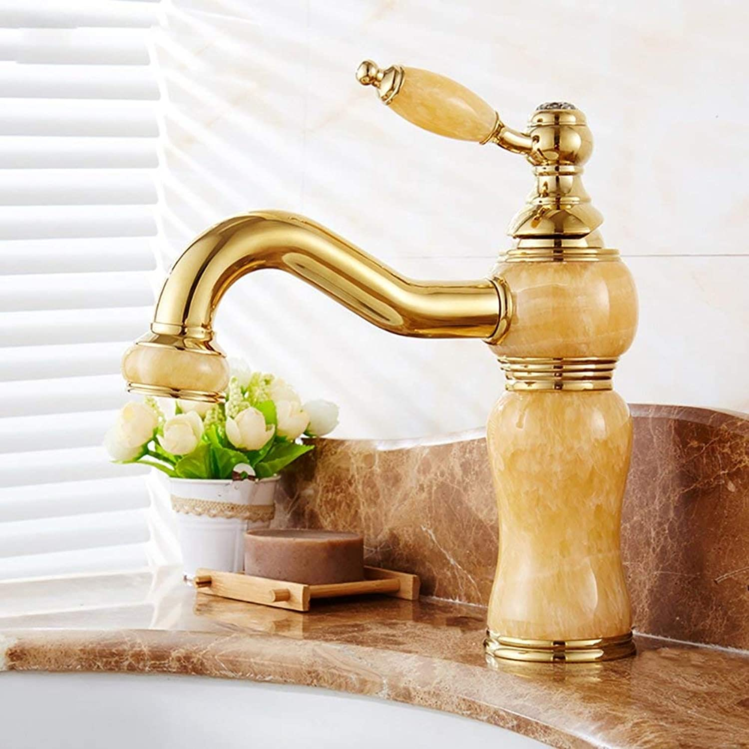 JZX All-Copper European Split Faucet, Basin Faucet, Hot and Cold Washbasin Faucet,C,