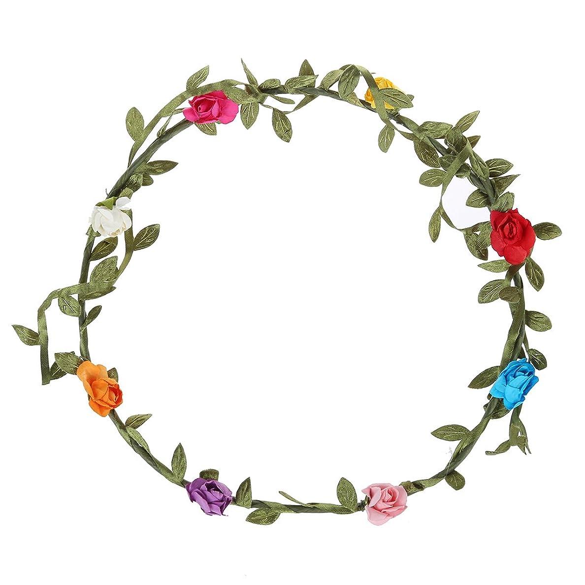 大破アクティビティ刈り取るSODIAL(R)2個 レディ ボヘミア 花 フラワー お祭り ウェディング ガーランド ヘアヘッド ヘッドバンド-マルチカラー