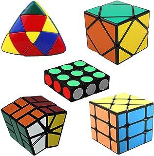 MSZtech Cubo mágico Juego de 5 Pack Incluye 1x3x3 + Cuadrado 1 + Skewb + Mastermorphix + Fisher Cube