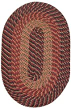 """product image for Plymouth 7'4"""" x 9'4"""" (88"""" x 112"""") Oval Braided Rug in Black Red Gold Made in New England"""