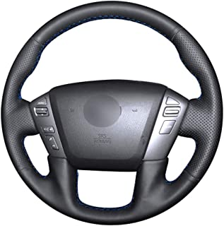 MVMTVT Car Steering Wheel Cover for Nissan Patrol Armada NV Cargo NV Passenger (US) Titan, Hand Stitched Black PU Leather Car Steering Wheel Cover