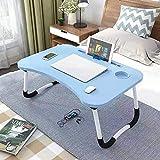 JONJUMP Soporte plegable para ordenador portátil, mesa de estudio, escritorio plegable de madera, escritorio de ordenador para cama, sofá, té, mesa
