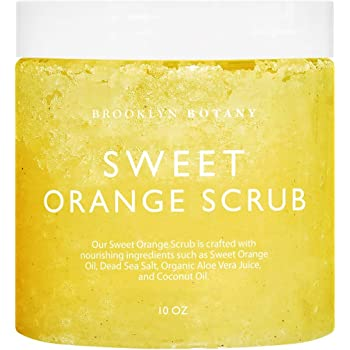 Brooklyn Botany 100% Natural Sweet Orange Body Scrub & Hand Scrub - Dual Action Exfoliator, Moisturizer For Great Skin- Made With Natural Orange Oil - Exfoliating Body Scrubs & Hand Scrubs - 10 oz
