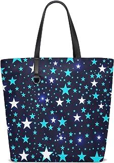 FANTAZIO Schultertasche für Damen, mit hellen Sternen, tiefes Raum-Muster