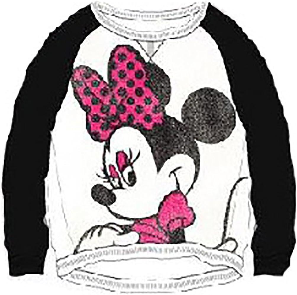 Disney Minnie Mouse 'Minnie Big Bow' Junior Girls Hi-lo Hem Terry Top Sweater Pullover