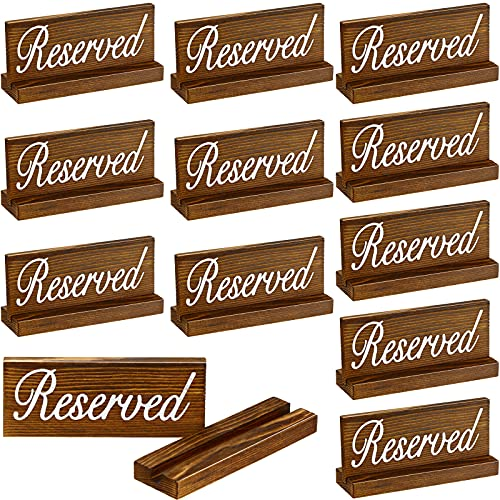 Jetec 12 Pieces Wooden Reserved Signs for Tables Rustic Style Wood Sign Wedding Seating Signs for Wedding Restaurant Receptions Supplies