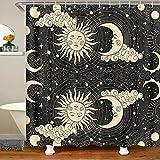 Boho Stammes Sonne Mond Wolke Stoff Duschvorhang 180x180 Galaxis Universum Sternenhimmel Wasserdichtes Duschvorhang Textil Kreis Stern Astronomie Badezimmer Dekor