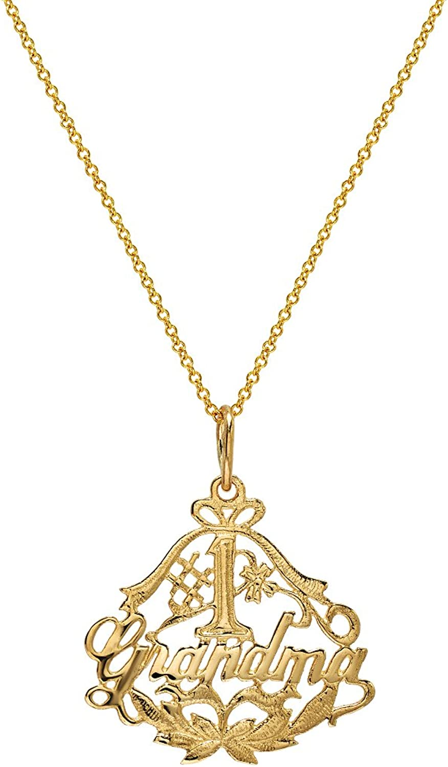 14K Yellow gold  1 Grandma Pendant Necklace, 18
