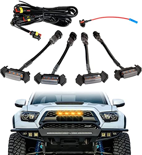 wholesale LED Grille Lights with 4 leads Harness & Fuse,4Pcs outlet online sale ABS Plastic Auto Grille LED Lights Front Bumper Cover Lamp Fit for Toyota Tacoma high quality 2016, 2017, 2018,2019 TRD PRO Grille (Yellow) sale