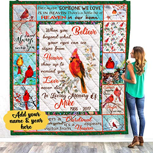 VTH Global Personalized Custom Name Date Memorial Cardinal Appears Quilt Throw Fleece Blanket in Loving Memory Loss of Presents