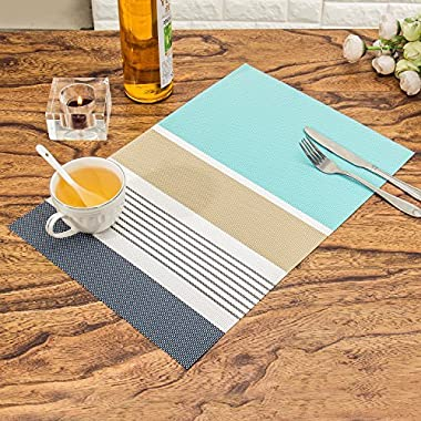 HEBE Placemats Set of 6 Washable Placemats for Dining Table Heat Resistant Vinyl Kitchen Table Mats(6, Blue)