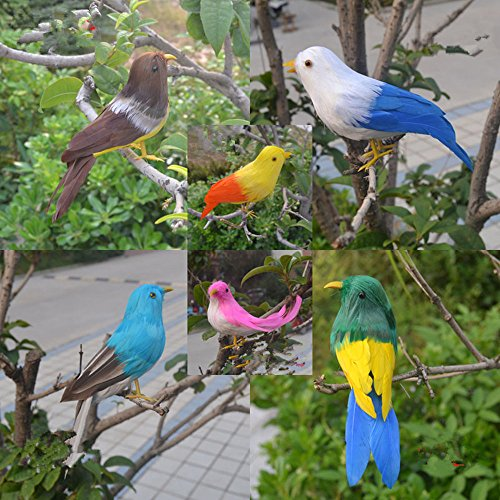 6 Set Artificial Small Feathered Birds Realistic Looking Colorful Bird Figurine Creative Garden Ornaments Animal Simulation Home Wedding Decoration