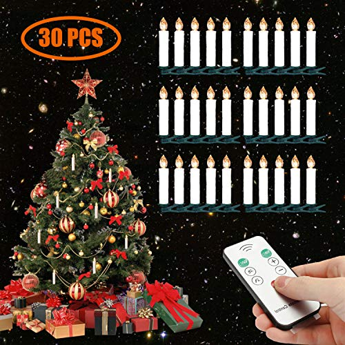 LED Weihnachtsbaumkerzen Kabellos Warmweiß Christbaumkerzen mit Fernbedienung (30er)