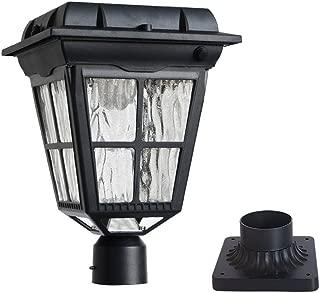 Kemeco ST4310AQ 6 LED PIR Motion Sensor Solar Post Light with Cast Aluminum 3-Inch Fitter Base for Outdoor Garden Post Pole Mount