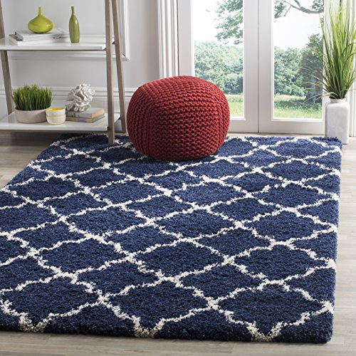 Safavieh Hudson Shag Collection SGH282C Navy and Ivory Moroccan Geometric Quatrefoil Area Rug (4' x 6')