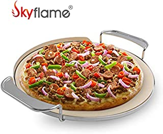 Skyflame Universal Pizza Stone with Handle Rack Fits for Weber 8836 Gourmet BBQ System, Charcoal Grill, Smoke Grill, Gas Grill, BGE, Kamado Joe