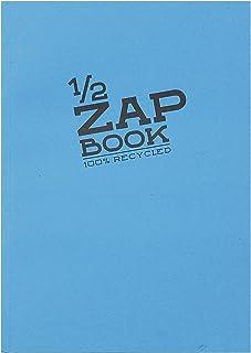 Clairefontaine 8366C - Un carnet encollé 1/2 Zap Book 80 feuilles 100 % recyclé unies blanches 14,8x21 cm 80g, couverture ...