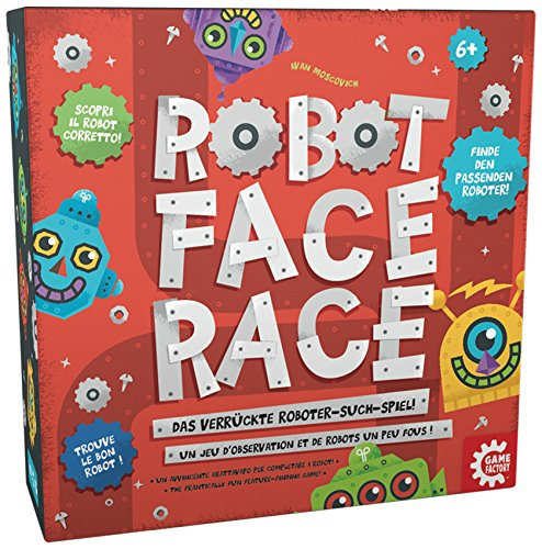 GAMEFACTORY 76146 - Robot Face Race multilingual, 2 - 4 Spieler