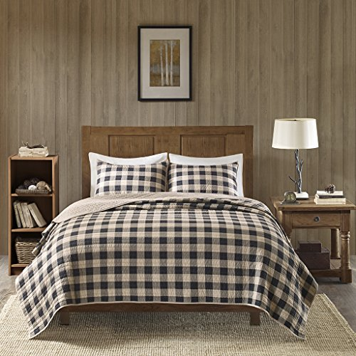 "Woolrich 100% Cotton Quilt Reversible Plaid Cabin Lifestyle Design All Season, Breathable Coverlet Bedspread Bedding Set, Matching Shams, King/Cal King(110""x96""), Buffalo Check Tan, 3 Piece"