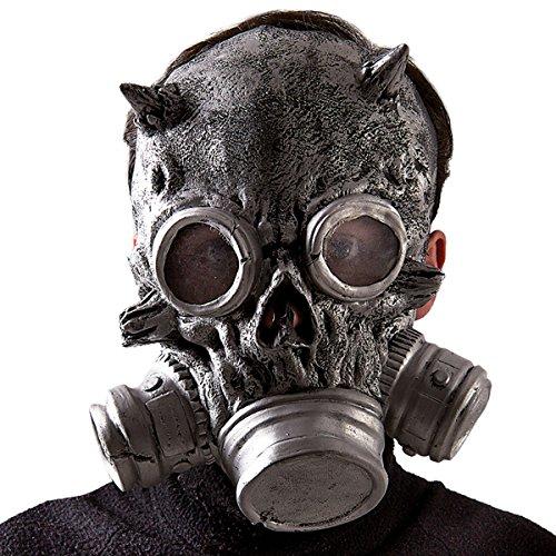 Carnival Toys Inquietante maschera teschio con maschera antigas realizzata in lattice. Adatta per travestimenti horror e Halloween.