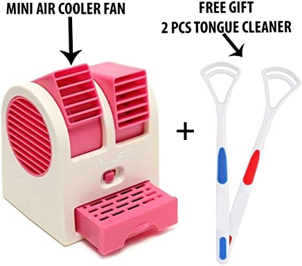 HAPPENWELL Mini Portable Dual Blower Desk Table Air Cooler Fan with Free Gift (2 PCS Tongue Cleaner)
