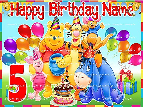WINNIE THE POOH; PERSONALIZED edible image birthday cake topper, premium frosting sheets