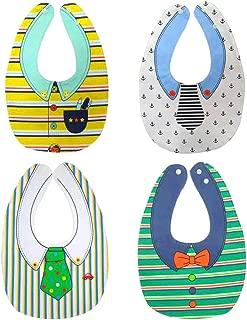 4-Pack Premium Baby Bibs Set - Burp Cloths, Teething, Feeding, Drooling Reversible for Babies Boys with Adjustable Snaps(Boy)