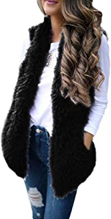 Reooly Miss. Sexy Faux Fur Solid Casual sin Mangas cálido