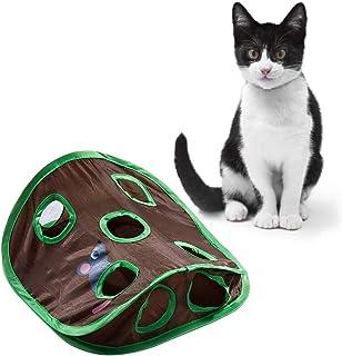 Apofly Chat Interactif Jouet, Jouet Chats Tapis avec 9 Trous Tunnel Toy Activité Cat Tapis De Jeu Pliable Formation Scratc...
