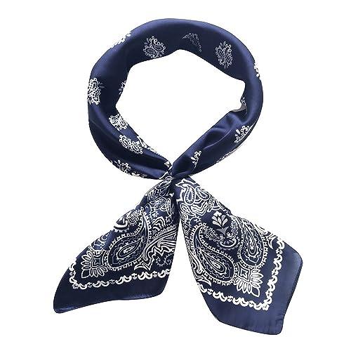 0a2e28573 QBSM Women 27'' Large Square Satin Silk Feeling Polyester Hair Scarf Wraps  Neckerchief