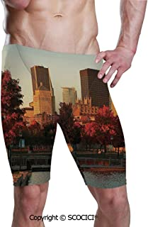 SCOCICI Men's Printed Quick Dry Jammer Swim Trunks Old Port Montreal Early Swimsuit