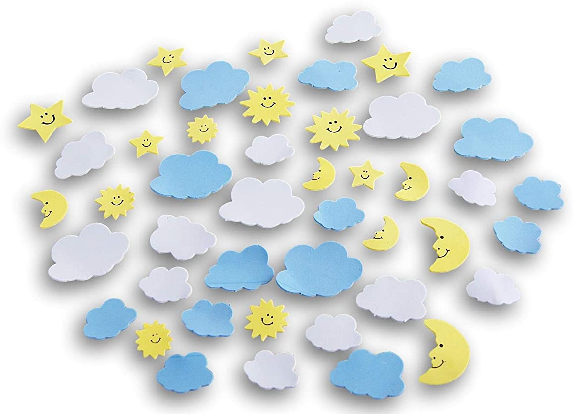 Self Adhesive Foam Miniature Sky Craft Shapes - Sun, Moon, Stars, Clouds - 48 Pc