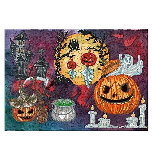 Noche de Miedo de Halloween Puzzle Cuadro de la Familia Decoraciones, único cumpleaños Regalo Adecuado para Adolescentes y Adultos Rompecabezas 165 Piezas,Naranja