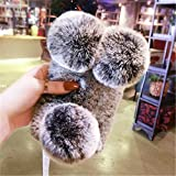 Case for LG K7, Lovely Warm Handmade Fur Panda Furry Luxury Bling Crystal Rhinestone Soft Beaver Rex Pom-pom Case for LG K7 / Tribute 5 / Escape 3 / Treasure / Phoenix 2(Gray)