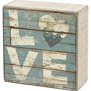 Love - Aqua Marine Mini Beach Plankboard Print Sign with Heart - 4-in