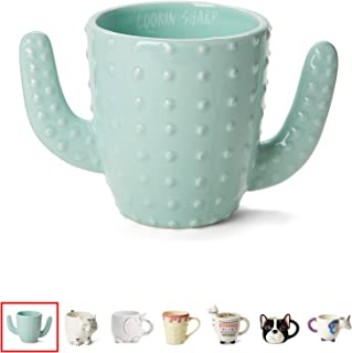 Ceramic Coffee or Tea Mugs: Tri-Coastal Design Cactus Coffee Mug with Hand Printed Designs and Printed Saying - 18.6 Fluid Ounce Large, Cute Handmade Cup