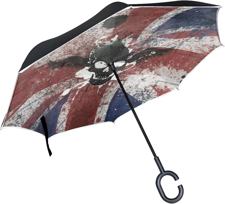 OREZI Double Layer Ingreened Umbrellas Reverse Folding Umbrella Windproof Predection Big Straigh Umbrella for Car Rain Outdoor with CShaped Handle,Union Jack with Skull Umbrella for Women and Men