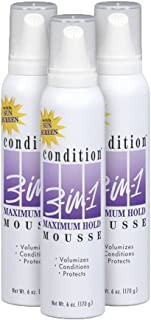 CONDITION 3 IN 1, Mousse, Maximum Hold, 6 oz, (3 Pack)