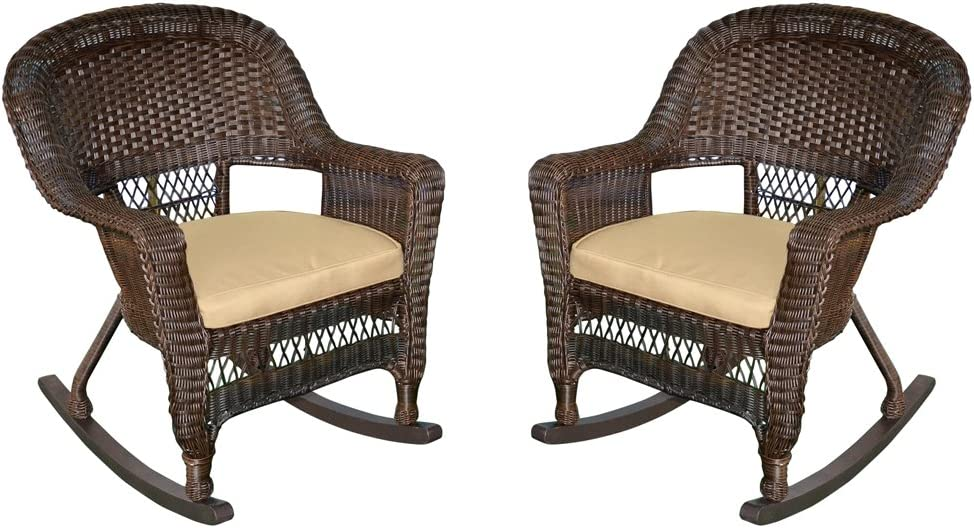 Jeco Rocker Max 89% OFF Wicker Chair with Tan 2 Espresso of Max 51% OFF Set Cushion
