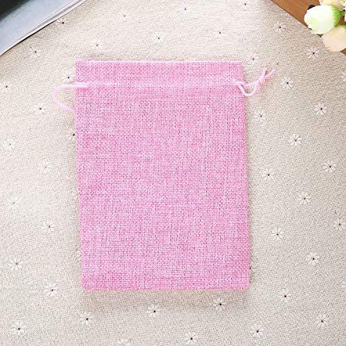 XiZiMi Geschenktüten Schmuck Taschen 10 Leinen Jute Taschen Wedding Favor Taschen mit Kordelzug Pink
