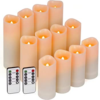 Enido Flameless Candles Led Candle Exquisite Pack of 12 Battery Candles (D2.15'' x H4''5''6'') Waterproof Outdoor Indoor Candles with 10-Key Remotes and Cycling 24 Hours Timer (Plastic)