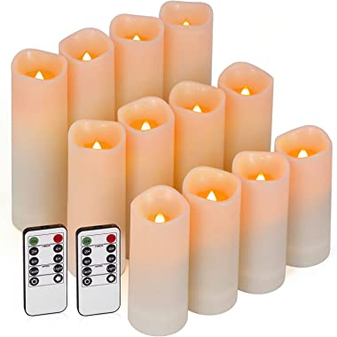 Enido Flameless Candles Led Candle Exquisite Pack of 12 Battery Candles (D2.15'' x H4''5''6'') Waterproof Outdoor Indoor Cand
