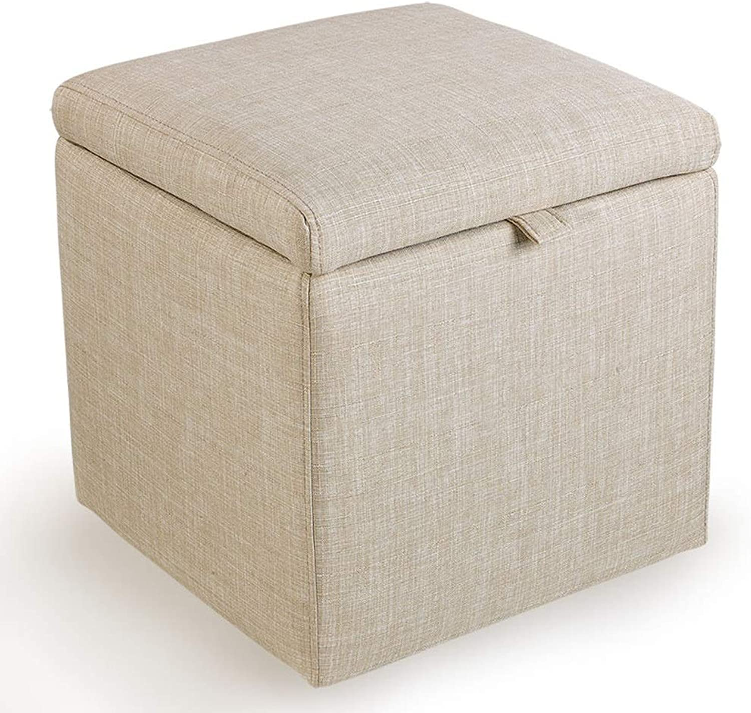 Boosc Cloth Storage Stool Sofa Change shoes Stool Storage Stool Fashion Bed End Stool Dressing Foot Stool Solid Wood Frame Multi-color Optional (color   Beige)