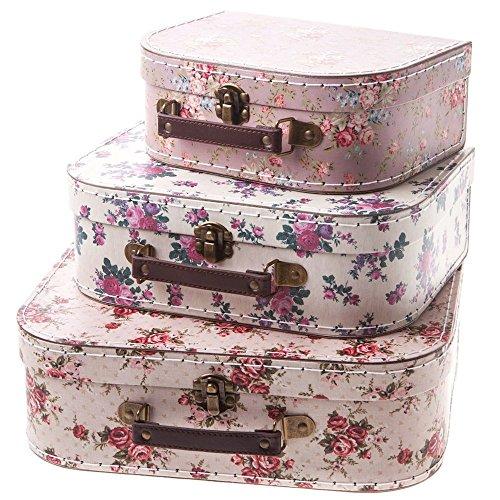 Sass & Belle - Juego de 3 maletas vintage de rosa